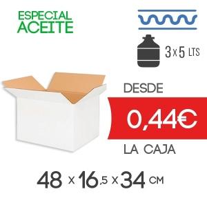 Caja de cartón para 3 Garrafas de Aceite de 5 litros 48 x 16,5 x 34,5 cm Exterior en Canal Sencillo Modelo B-1