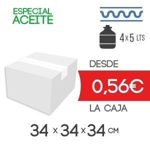 Caja de cartón para Garrafas de Aceite 4 Botellas de 5 litros Mod. 201S 34 x 34 x 34 cm Exterior de Canal Sencillo Modelo B-1