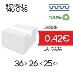 Cajas de Cartón para imprenta 36x26x25 cm Exterior de Canal Sencillo Modelo B-1