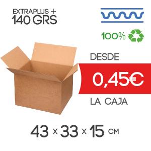 Cajas de Cartón de 43x33x15 cm Exterior en Canal Sencillo Modelo B-1