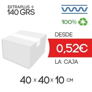 Cajas de Cartón de 40x40x10 cm Exterior en Canal Sencillo Modelo B-1 blanco