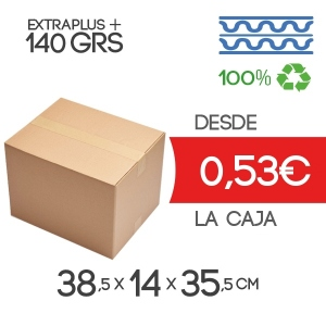 Cajas de Cartón de 38.5x14x35.5 cm Exterior en Canal Doble Modelo B-1