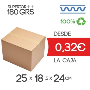 Cajas de CartónCanal Sencillo Modelo B-1Extra Fuerte 25x18,5x24 cm Exterior
