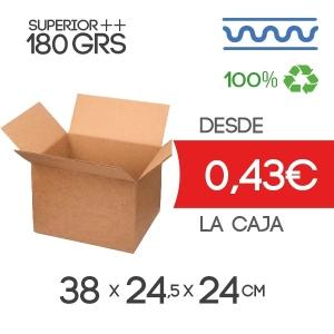 Caja de cartón 38x24,5x24 cm Exterior cm Exterior canal Sencillo Modelo B-1 180 Grs marrón