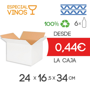 Cajas de Cartón para 6 Botellas en Blanco Canal Doble Modelo B-1