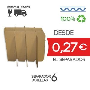 Separadores para caja de 6 botellas de 7,5 cm Exterior Alto: 30 cm Exteriors