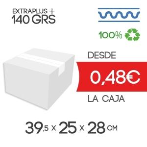 Caja de cartón de 39,5x25x28 cm Exterior en Canal Sencillo Modelo B-1 blanco