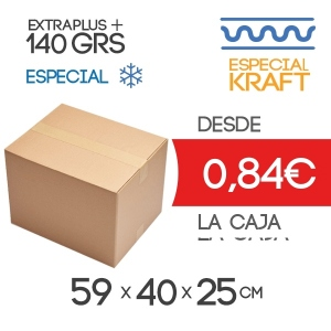Caja de Cartón de 59x40x25 cm Exterior Calidad Congelación Especial de Kraft