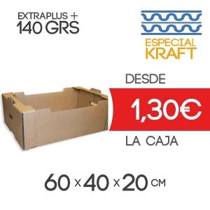Caja de Cartón para Fruta Especial Kraft en Canal Doble Modelo B-1 60x40x20 cm Exterior para 20-25 Kg
