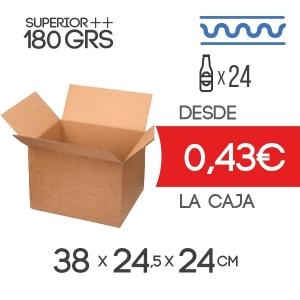 Caja de Cartón para Cerveza de 24Botellines de 33 cl en color MarrónCartón Sencillo Modelo B-1 de 180grs