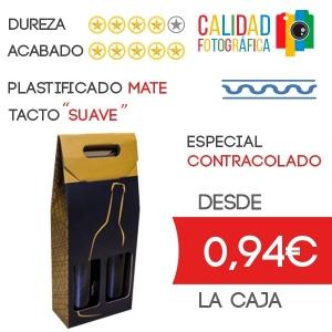 Estuche para 2 Botella de Vino Diseño LeVin en Caja de Cartón Contracolado + Plastificado Mate