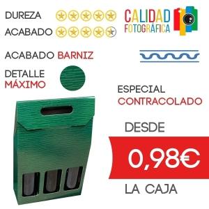 Estuche para 3 Botella de Vino Diseño LeBois en Caja de Cartón Contracolado