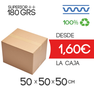 Cajas de Cartón de 50x50x50 cm Exterior en Canal Sencillo Modelo B-1 extra fuerte