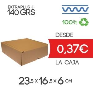 Caja de cartón Automontable con tapa incorporada 23,5 x 16,5 x 6 cm Exterior