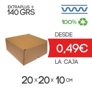 Caja de cartón 20x20x10 cm Exterior automontable con tapa incorporada