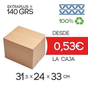 Cajas de Cartón 31,5x24x33 cm Exterior de Canal Doble Modelo B-1 Marrón