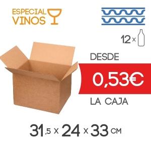 Cajas de Cartón para 12 Botellas de Vino en Cartón Doble Modelo B-1 Marrón