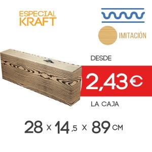 Caja de de Cartón para Jamón impresión de imitación Madera con Asa de plástico