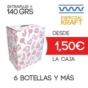 Cajas de cartón para Lotes de Navidad de 6 botellas 30 x 20 x 37 cm Exterior