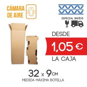 Cajas de Cartón para envío de 1 Botella Canal Sencillo + 1 Protector de Botella Canal Doble - Medida exterior: 15x15x35.5 cm