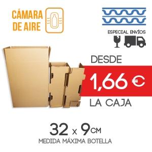 Cajas de Cartón para envío de 2 Botellas + 2 Protectores de Botella - Medida exterior: 26.5x14x35.5 cm Exterior