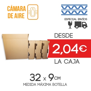 Cajas de Cartón para envío de 3 Botellas + 3 Protectores de Botella - Medida exterior: 38.5x14x35.5 cm Exterior