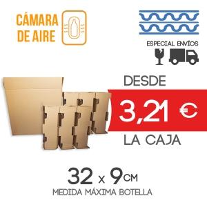 Cajas de Cartón para envío de 6 Botellas + 6 Protectores de Botella - Medida exterior: 38.5x28x35.5 cm Exterior