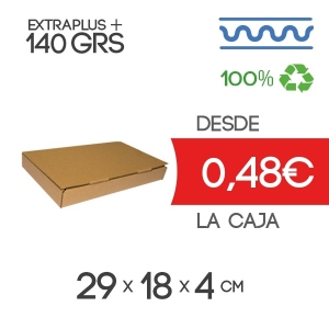 Caja Automontable con tapa incorporada de 29 x 18 x 4 cm Exterior