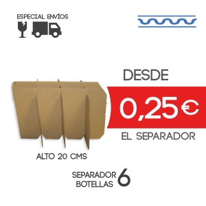 Separadores para caja de 6 botellas de 7,5 cm Exterior Alto: 20cm Exteriors