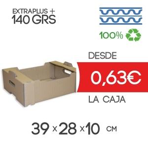 Caja de Cartón para Fruta Automontable Canal Doble Modelo B-1 39x28x10 cm Exterior para 10-15Kg