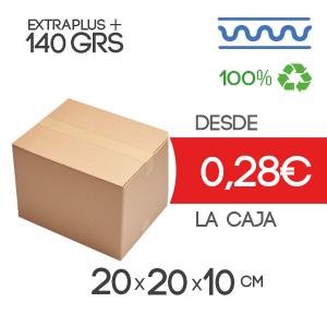 Caja de cartón marrón 4 solapas 20x20x10cm