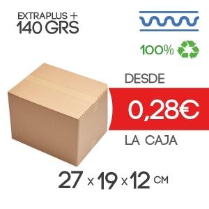 Caja de cartón marrón 4 solapas 27x19x12cm