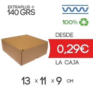 Caja de cartón automontable marrón 13x11x9cm Exterior