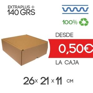 Caja de cartón automontable marrón 26x21x11cm Exterior