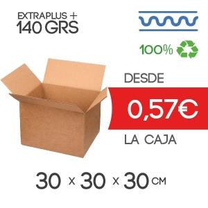Caja de cartón marrón30x30x30cm Exterior Canal Sencillo Modelo B-1