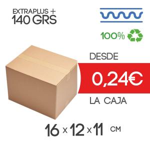 Caja de cartón marrón 4 solapas 16x12x11cm