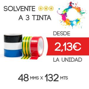 Precinto personalizado Solvente 132mts - 3 tintas