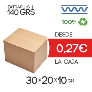 Caja de cartón marrón 4 solapas 30x20x10cm