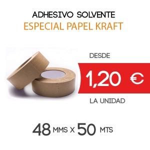 Rollos de Precinto o Cinta Adhesiva Papel Kraft 100% reciclable 50 metros x 48 mm de ancho