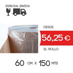 Rollo Papel con Plástico Burbuja 60cm x 150mts