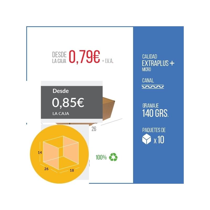 Caja Automontable con tapa incorporada microcanal 26 x 18 x 14 cm