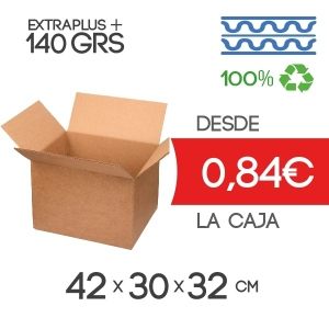 42x30x32 cm Caja de Cartón de Canal Doble (4 Solapas)