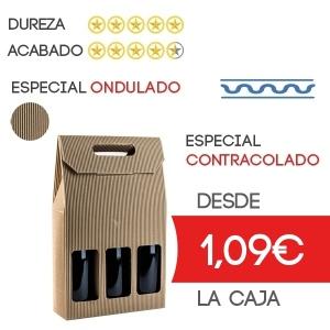 Cajas de Cartón Ondulado para 3 Botellas Marrón