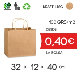 Bolsa de Asa Rizada Marrón de 32x12x40 cm Kraft Liso