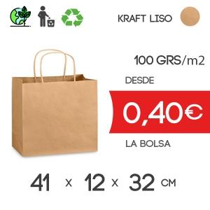 Bolsa de Asa Rizada Marrón de 41x12x32 cm Kraft Liso