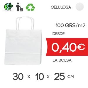 Bolsa de Asa Rizada Blanco de 30x10.5x25 cm Kraft Liso