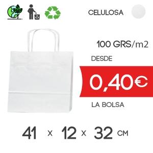 Bolsa de Asa Rizada Blanco de 41x12x32 cm Kraft Liso