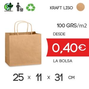 Bolsa de Asa Rizada marrón de 25x11x31 cm Kraft Liso