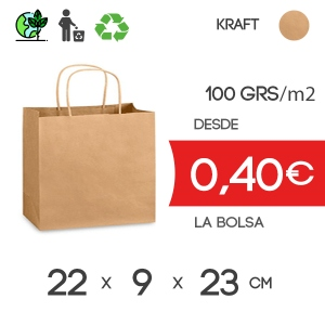Bolsa de Asa Rizada marrón de 22x9x23 cm Kraft Liso