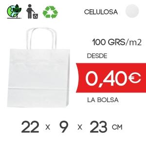 Bolsa de Asa Rizada blanco de 22x9x23 cm Kraft Liso